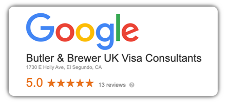 Google has 13 reviews with an average of 5 stars for Butler and Brewer UK Visas and Immigration services