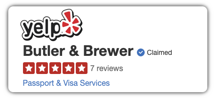 YELP has 7 reviews with an average of 5 stars for Butler and Brewer UK Visas and Immigration services